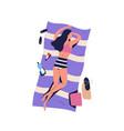 cartoon alone woman sunbathing lying on beach vector image