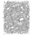 cartoon line art funny doodles cinema vector image vector image