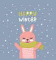 christmas card with cute rabbit vector image vector image