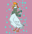 christmas goose in winter hat vector image vector image