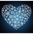 Christmas heart snowflake design background vector image vector image