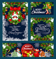 christmas wreath with bell greeting card design vector image vector image