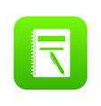closed spiral notebook and pen icon digital green vector image