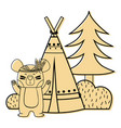 color bear animal with camp next to bush and pine vector image vector image