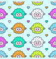 cute sheep lamb face seamless pattern vector image vector image