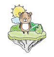 doodle happy bear animal in the float island vector image vector image