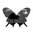 double exposure butterfly with tree grass clouds vector image