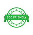 eco friendly circle green badge with ribbon vector image