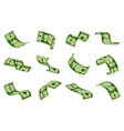 falling dollars bills cash dollar banknotes rain vector image