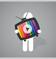 figure man holds old tv vector image