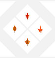 flat icon maple set of aspen frond foliage and vector image vector image