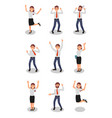 flat set of happy office workers in vector image