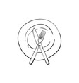 fork and knife crossed on empty plate linear vector image vector image