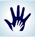 hand in hand in white and blue as symbol of help vector image vector image