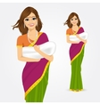 happy indian mother holding her baby vector image vector image