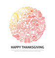 happy thanksgiving circle concept vector image vector image