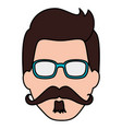 hipster man head character vector image