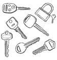 House and car keys doodle vector image vector image