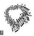 I love music concept Heart made with musical notes vector image vector image