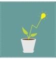 lamp light bulb plant in pot growing idea vector image