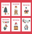 merry christmas greeting card set with cute xmas vector image vector image