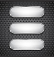 oval glass buttons on metal perforated background vector image vector image