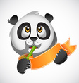 panda head with a ribbon and bamboo vector image