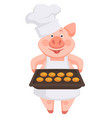 pig chef wearing hat and apron holding baking vector image