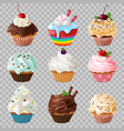 realistic cupcakes sweet homemade dessert with vector image