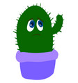 sad cactus in purple pot on white background vector image vector image