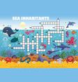 sea inhabitants crossword composition vector image