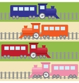 Seamless pattern with colorful trains vector image
