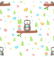 seamless pattern with cute owl having tea vector image vector image