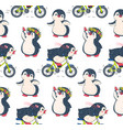 seamless pattern with cute penguins vector image vector image