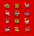 set of black friday sale stickers discount banner vector image