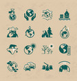 set of icons on the theme of ecology vector image vector image
