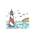 shining lighthouse outline vector image vector image