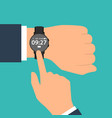 smart watch on the hand of businessman in suit vector image vector image
