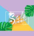 summer sale on papper background wit palm leaves vector image vector image