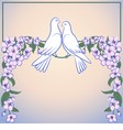 Two white doves and decor of blossoming apple tree vector image