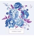 Vintage Floral Greeting Card with Blooming Peonies vector image