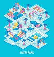 water park concept flat isometric vector image vector image