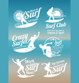white creative summer surfing sports logos vector image vector image