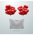 white textile banner with heart balloons vector image vector image