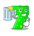 with juice cartoon number seven on stone wall vector image
