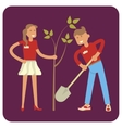 Young volunteers planting trees vector image vector image