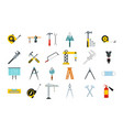 construction tools icon set flat style vector image