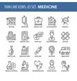 set of thin line flat icons medicine vector image