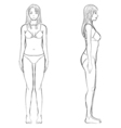 woman body front and side view in outline vector image
