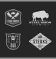 vintage hand drawn steak house logo set bbq party vector image